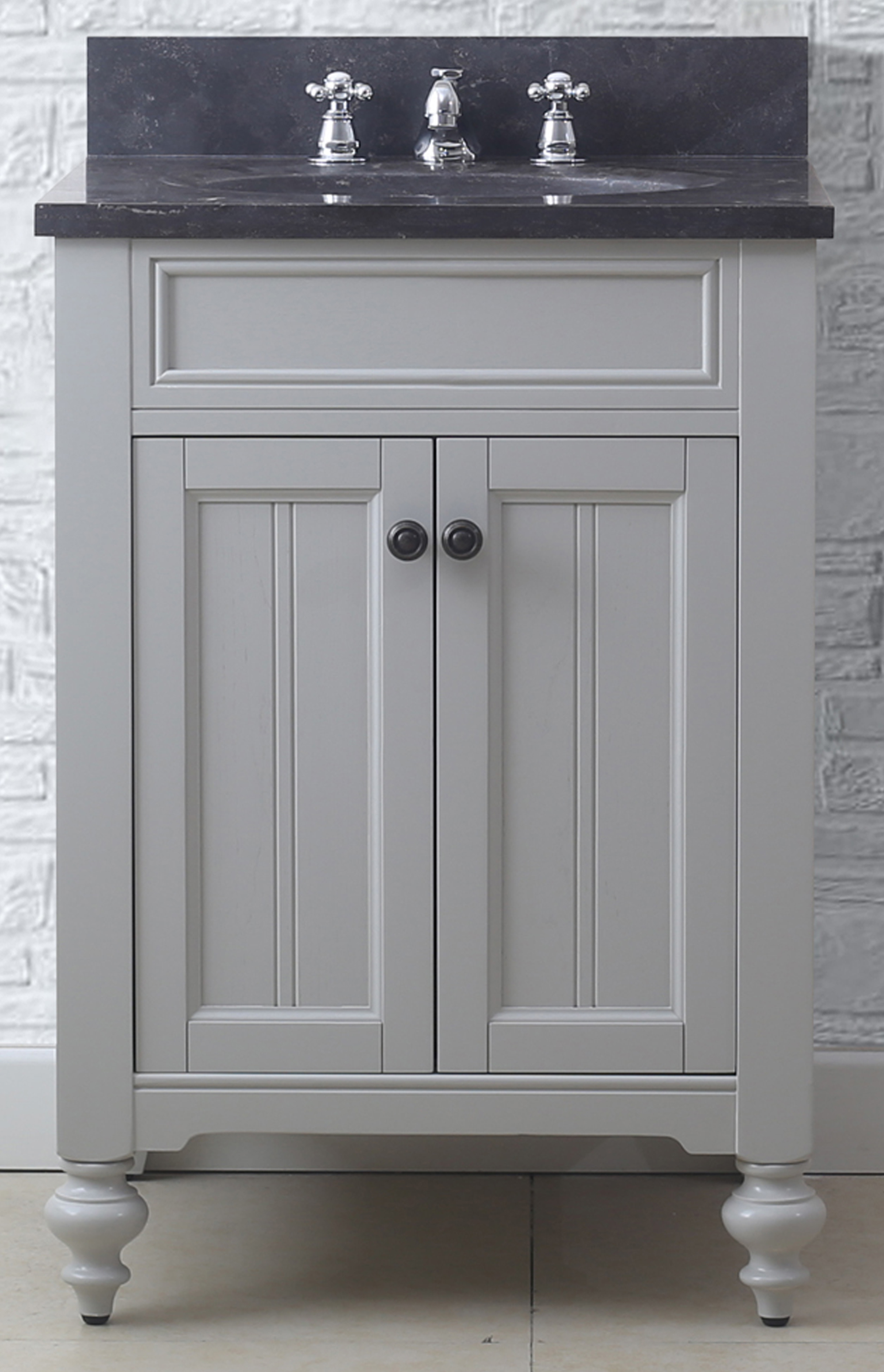 """24"""" Earl Grey Single Sink Bathroom Vanity with Blue Limestone Granite Top"""