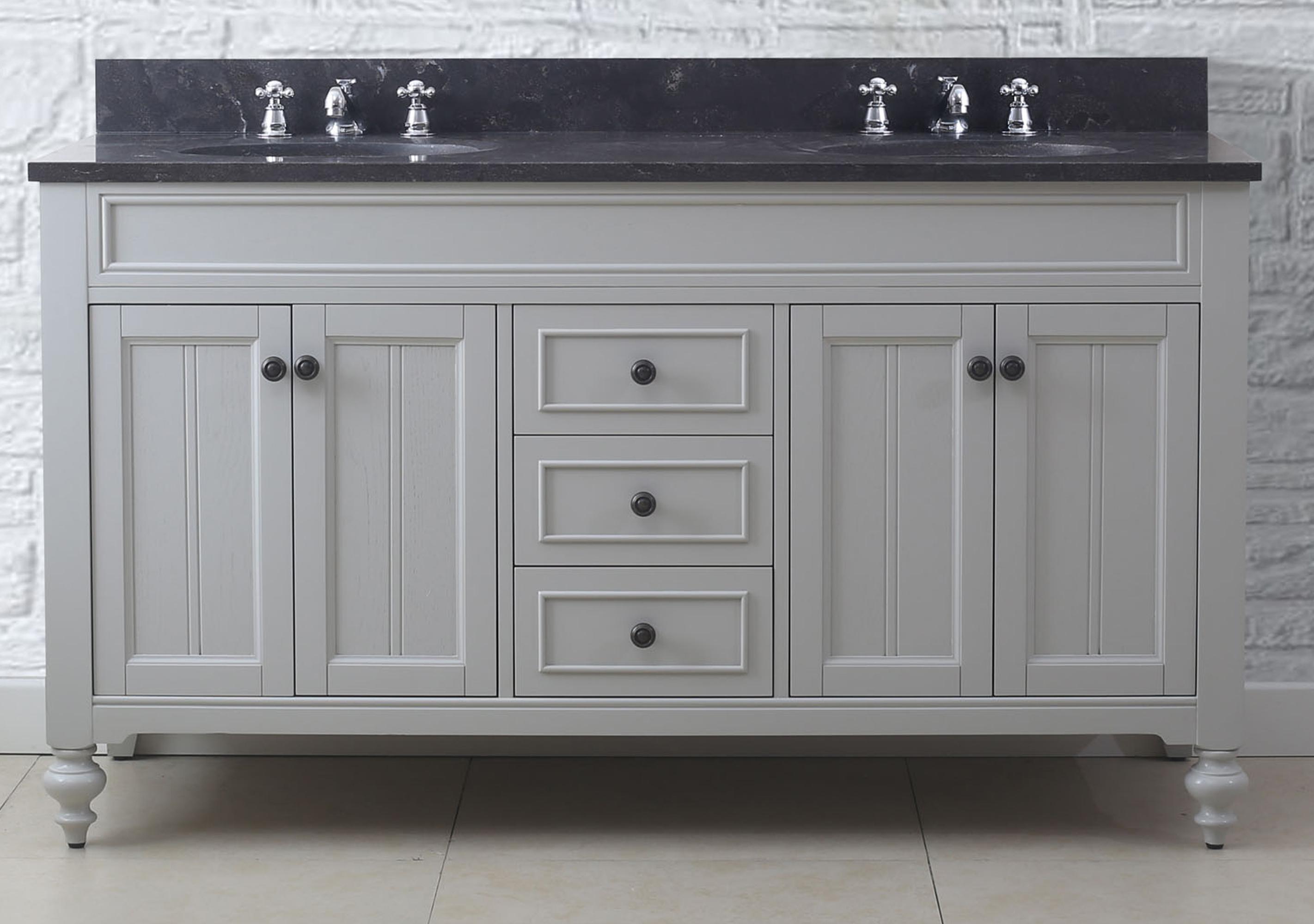 """60"""" Earl Grey Double Sink Bathroom Vanity with Blue Limestone Granite Top"""
