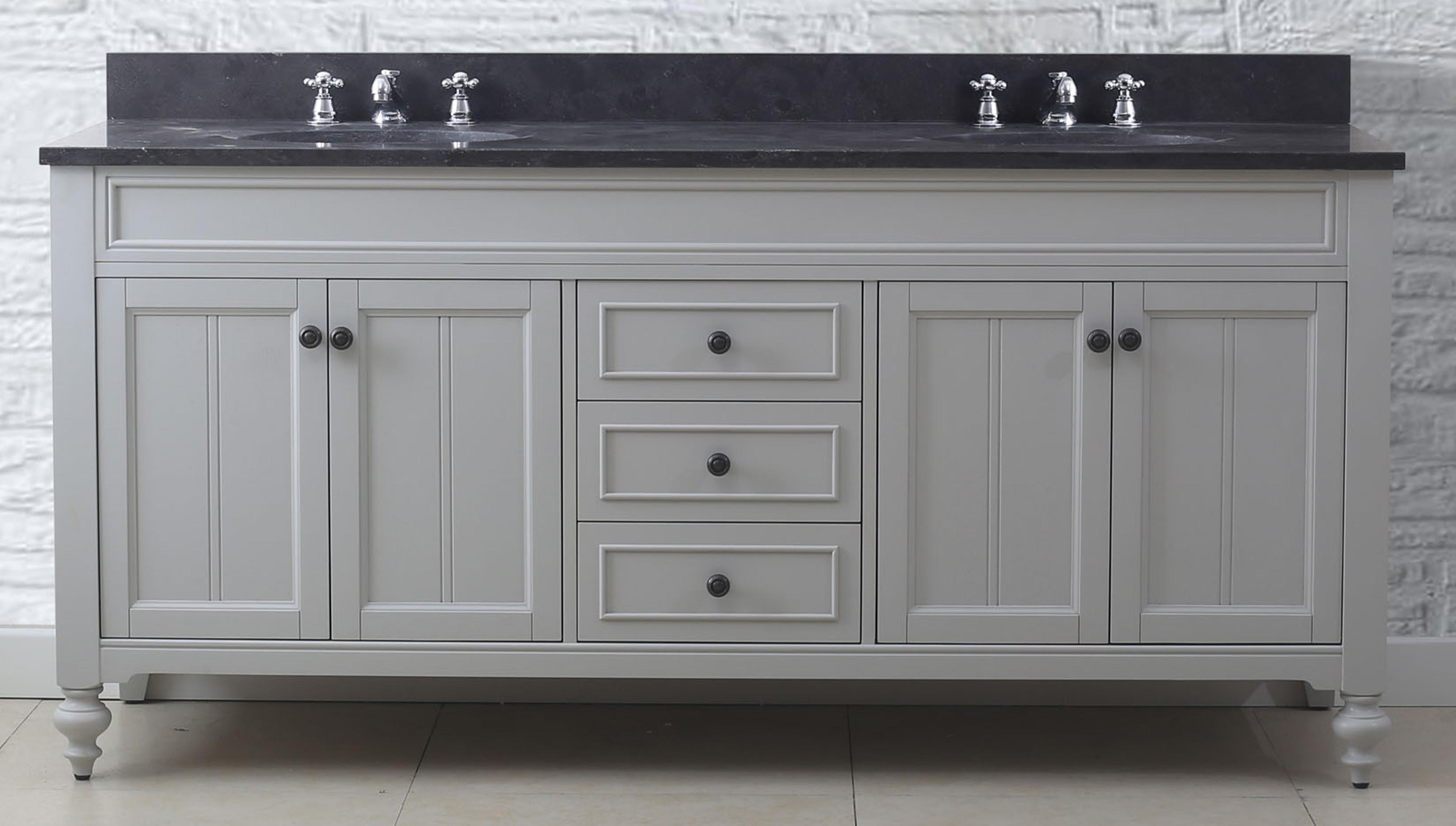 """72"""" Earl Grey Double Sink Bathroom Vanity with Blue Limestone Granite Top"""