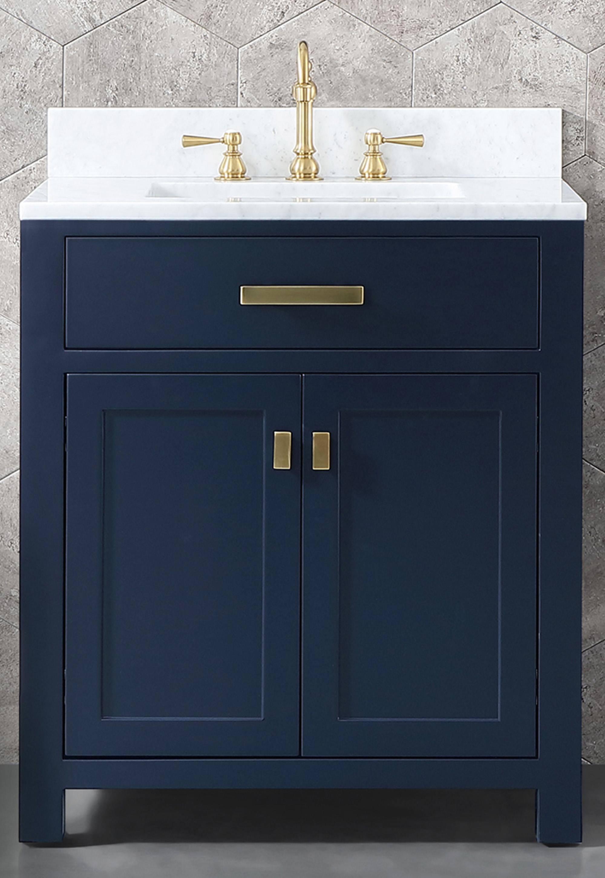 "30"" Single Sink Carrara White Marble Vanity In Monarch Blue Color"