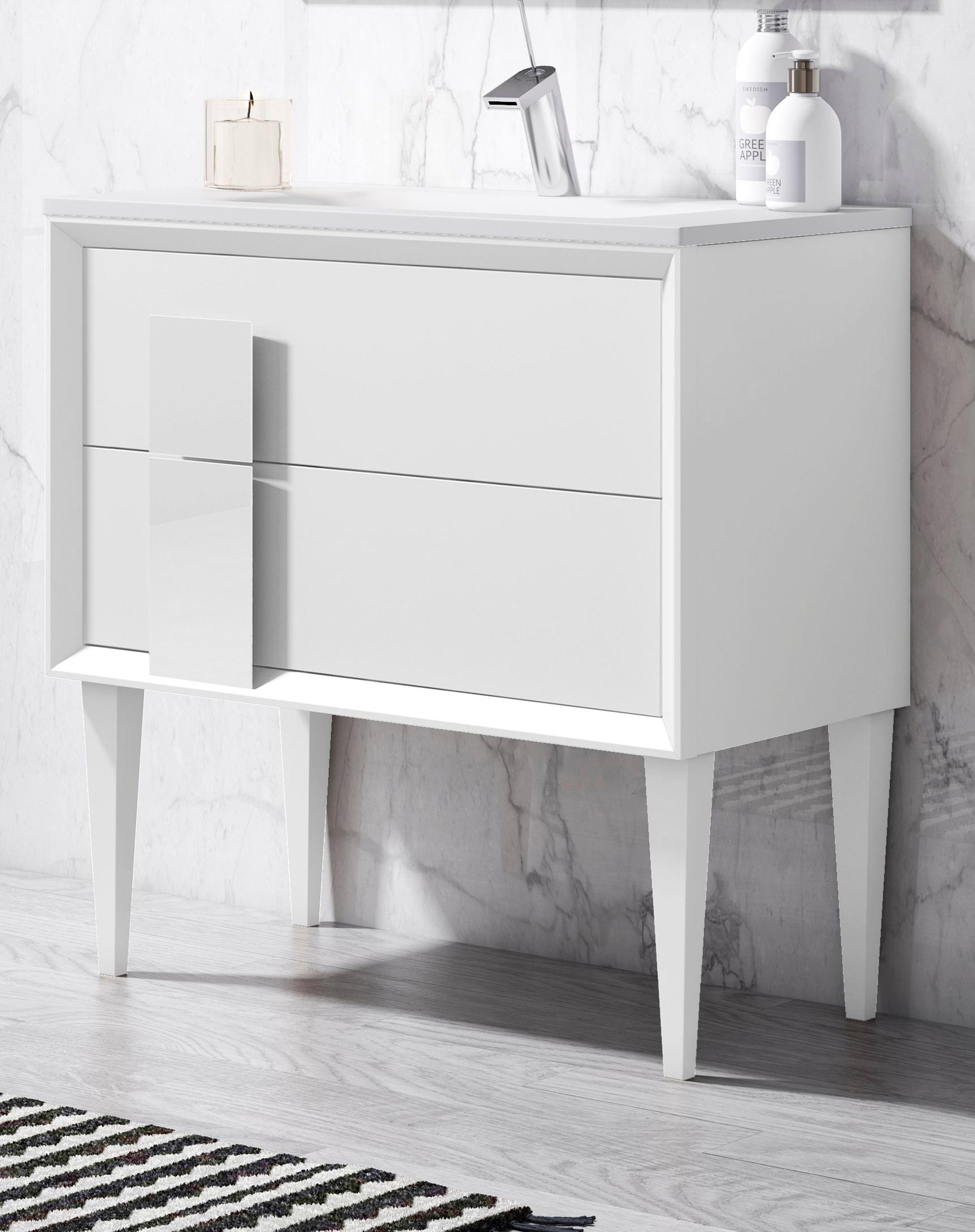"""32"""" Free Standing Single Sink Bathroom Vanity 2 Drawer with Ceramic Sink"""