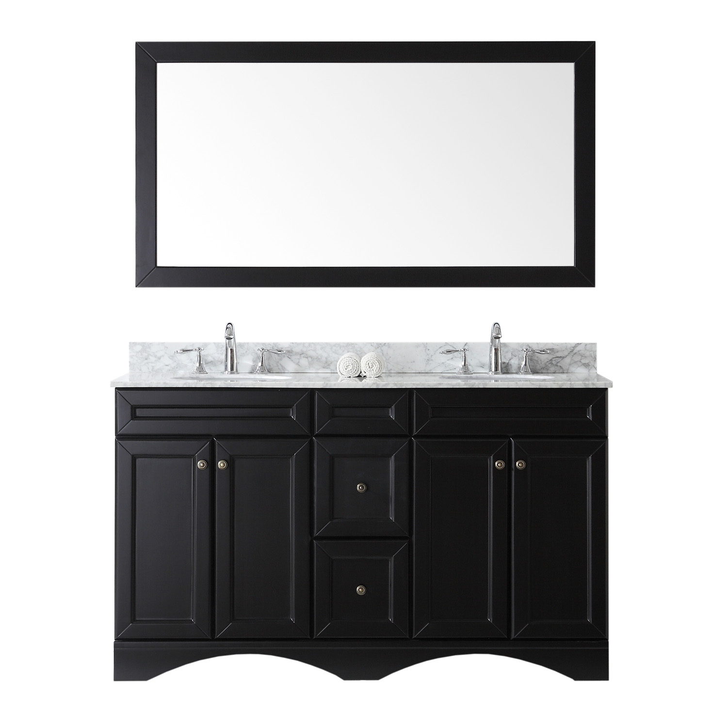"""60"""" Double Bath Vanity in Espresso with Marble Top and Round Sink with Faucet and Mirror Options"""