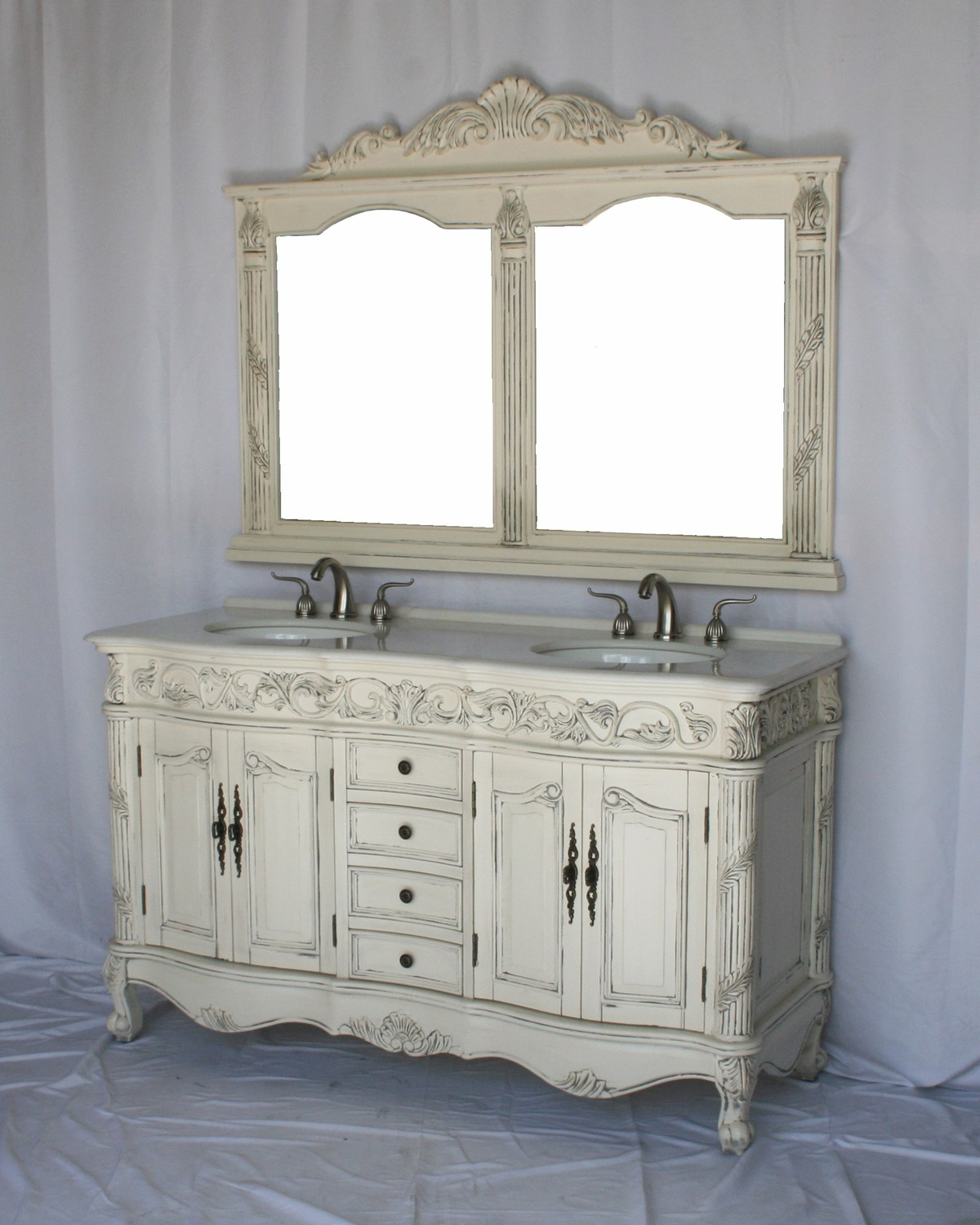 """60"""" Adelina Antique Style Double Sink Bathroom Vanity in Antique White Finish with Imperial White Stone Countertop and Mirror Option"""