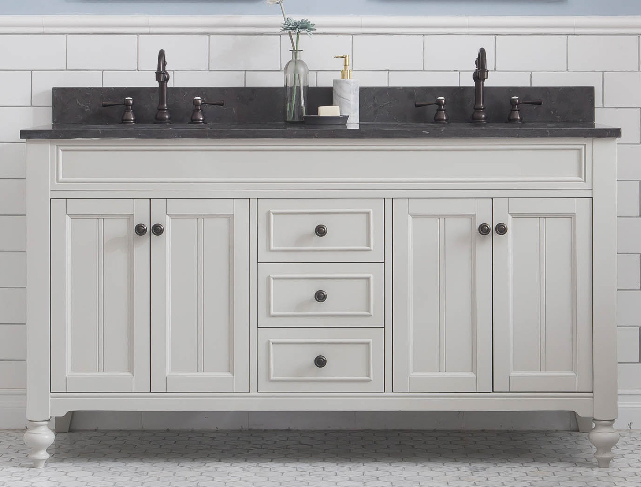 """60"""" Bathroom Vanity in Earl Grey with Blue Limestone Top with Faucet"""