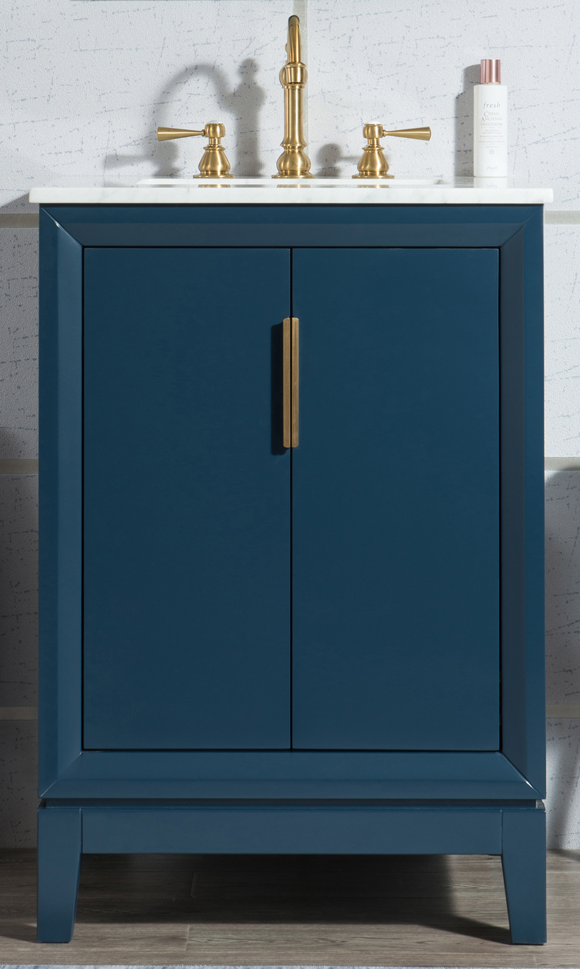 "24"" Single Sink Carrara White Marble Vanity In Monarch Blue Finish"