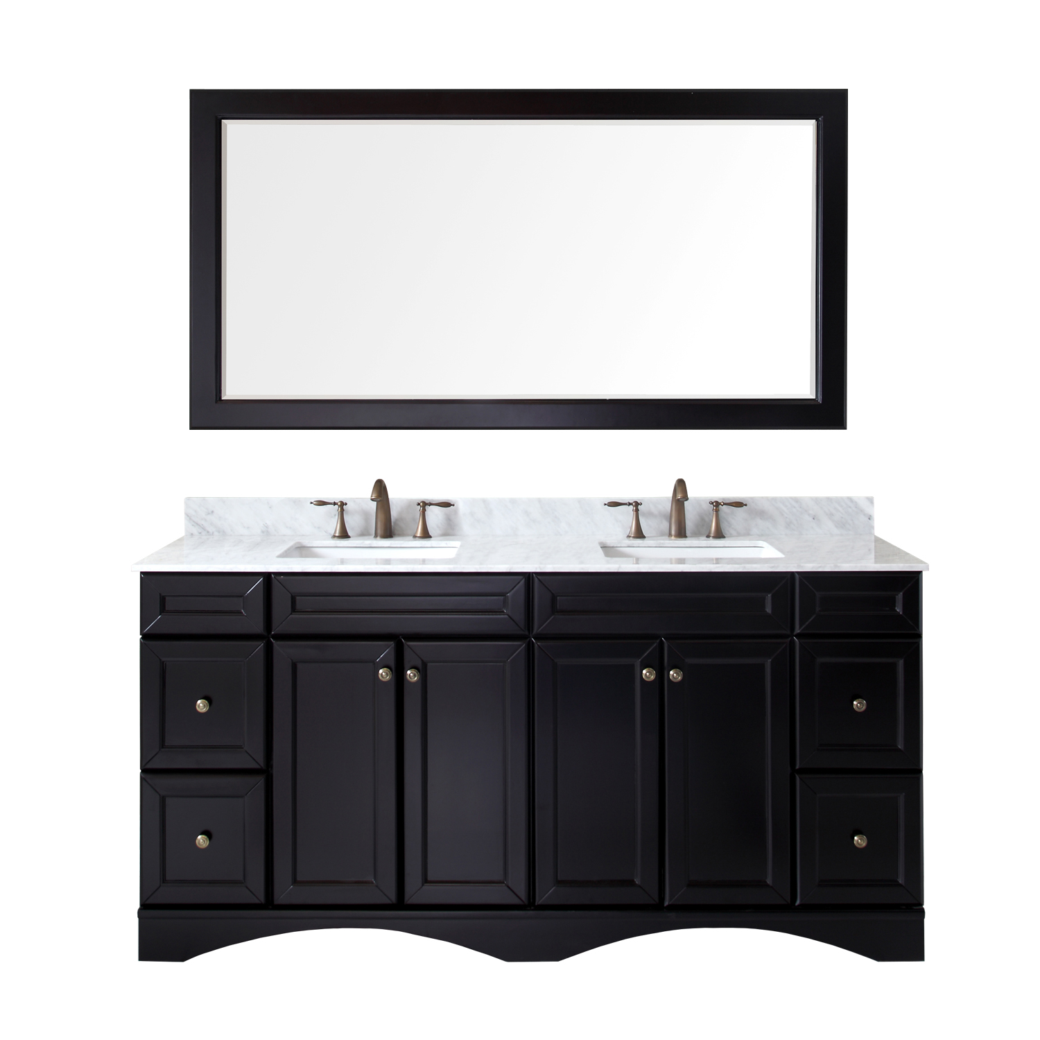 """72"""" Double Bath Vanity in Espresso with Marble Top and Square Sink with Faucet and Mirror Options"""