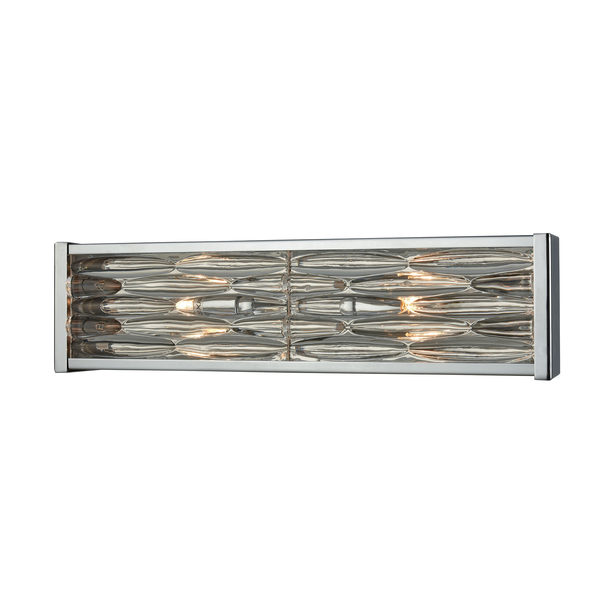 Riverflow 2 Light Vanity in Polished Chrome with Stacked River Stone Glass