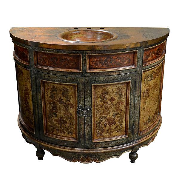"""48"""" Handcrafted Copper Top Bathroom Vanity"""