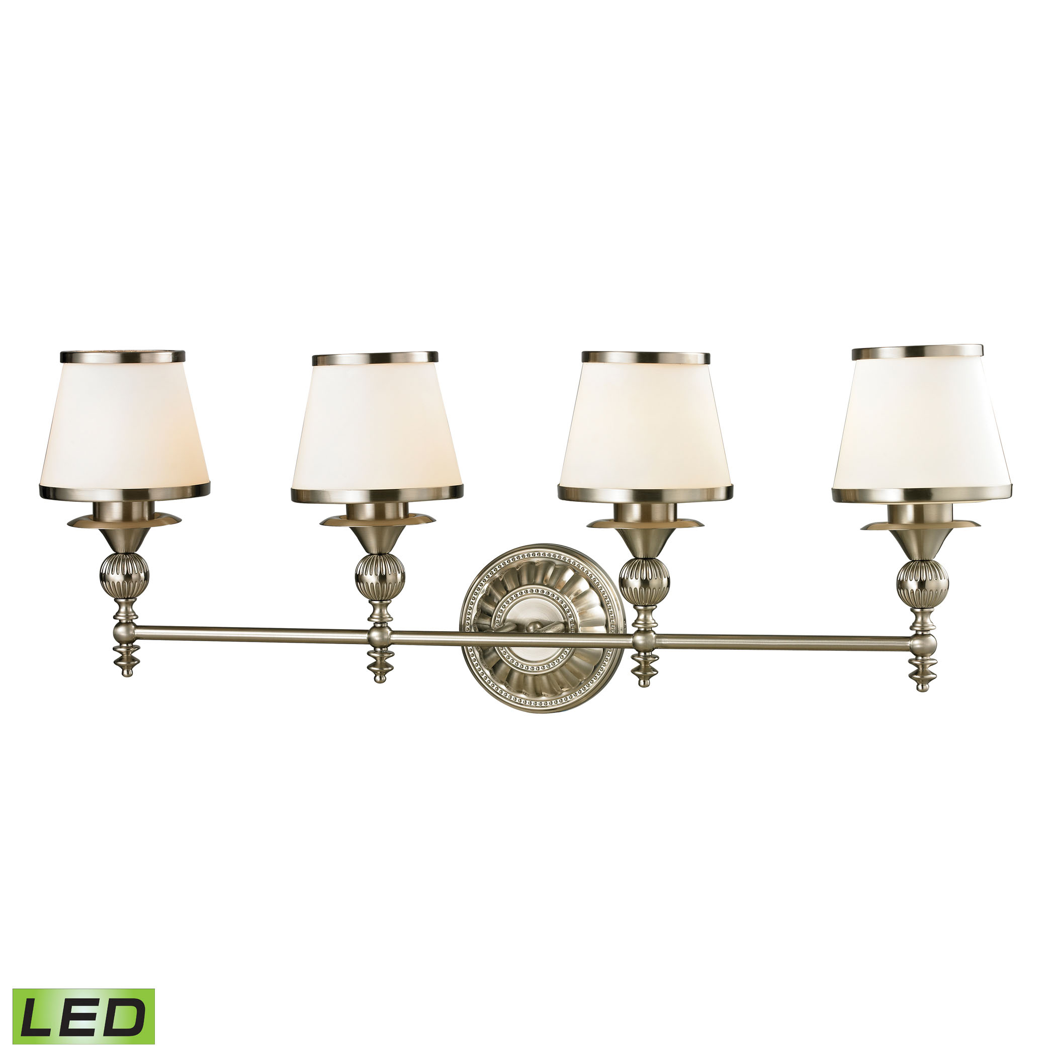 Smithfield Collection 4 Light Bath in Brushed Nickel - LED, 800 Lumens (3200 Lumens Total) with Full