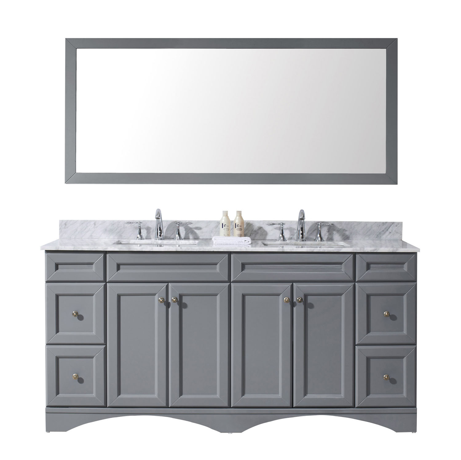 """72"""" Double Bath Vanity in Grey with Marble Top and Square Sink with Faucet and Mirror Options"""