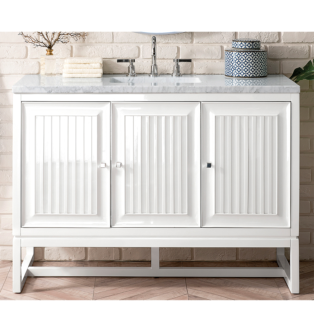 "James Martin Athens Collection 48"" Single Vanity Cabinet, Glossy White"