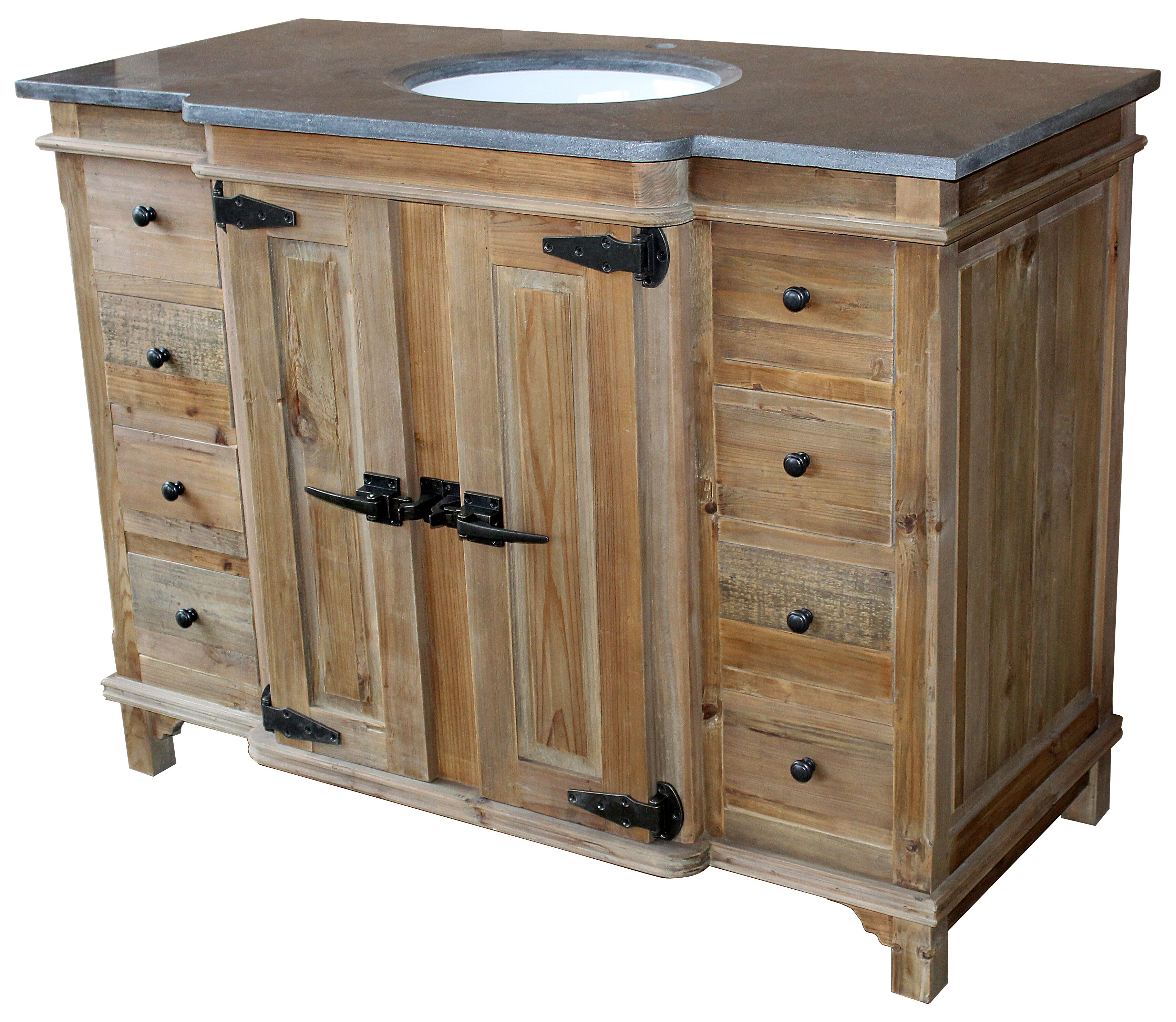 48 Handcrafted Reclaimed Pine Solid Wood Single Fridgey Bath Vanity Natural Finish