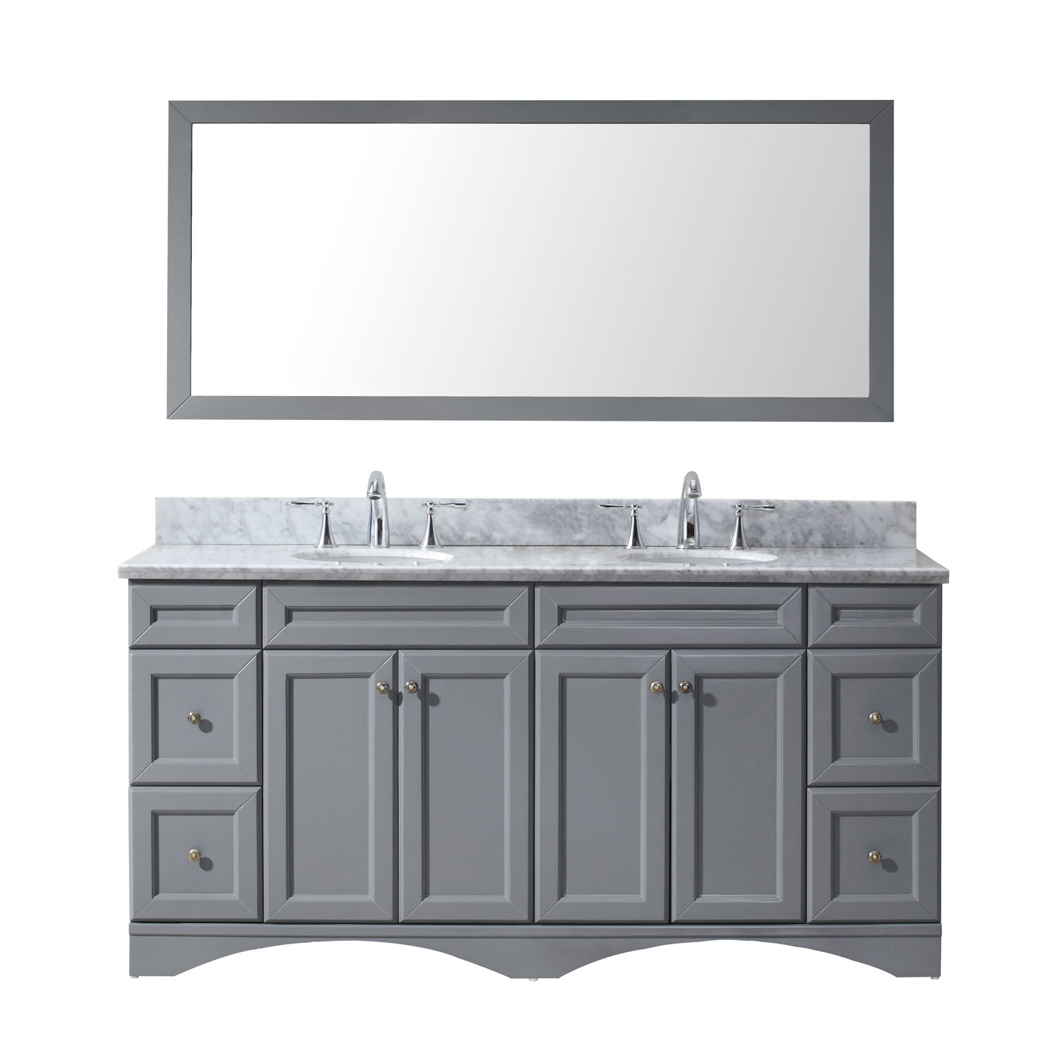 """72"""" Double Bath Vanity in Grey with Marble Top and Round Sink with Faucet and Mirror Options"""