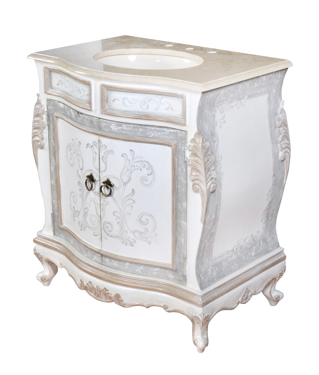 """33"""" Distressed White Antique Single Sink Vanity with Marble Top"""