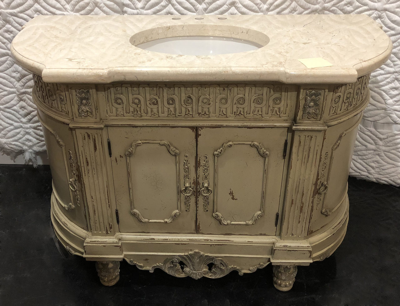 """Handcarved 53"""" Antique Single sink Vanity with 2"""" Thick Italian Marble Top"""
