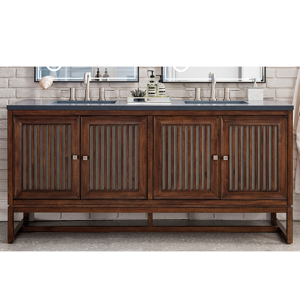 "James Martin Athens Collection 72"" Double Vanity Cabinet, Mid Century Acacia"