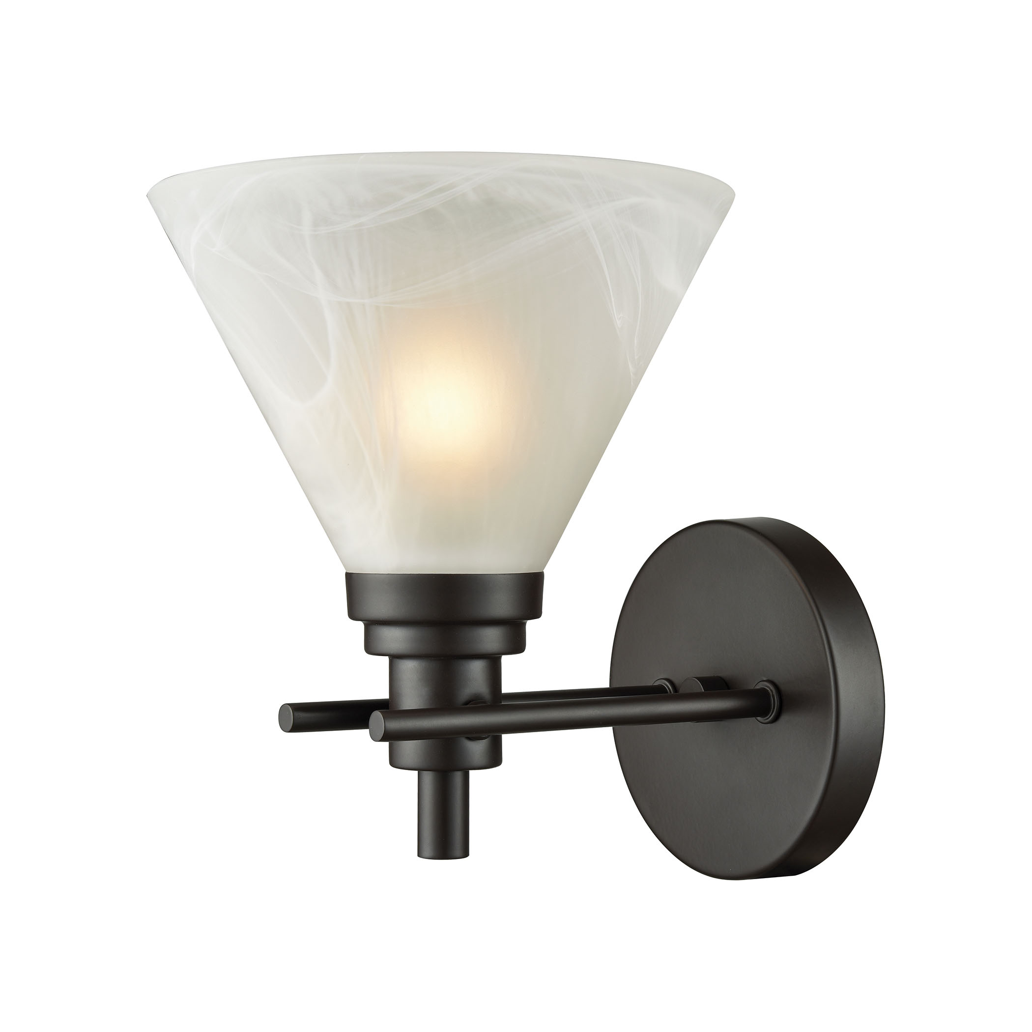 Pemberton 1 Light Vanity in Oil Rubbed Bronze with White Marbleized Glass