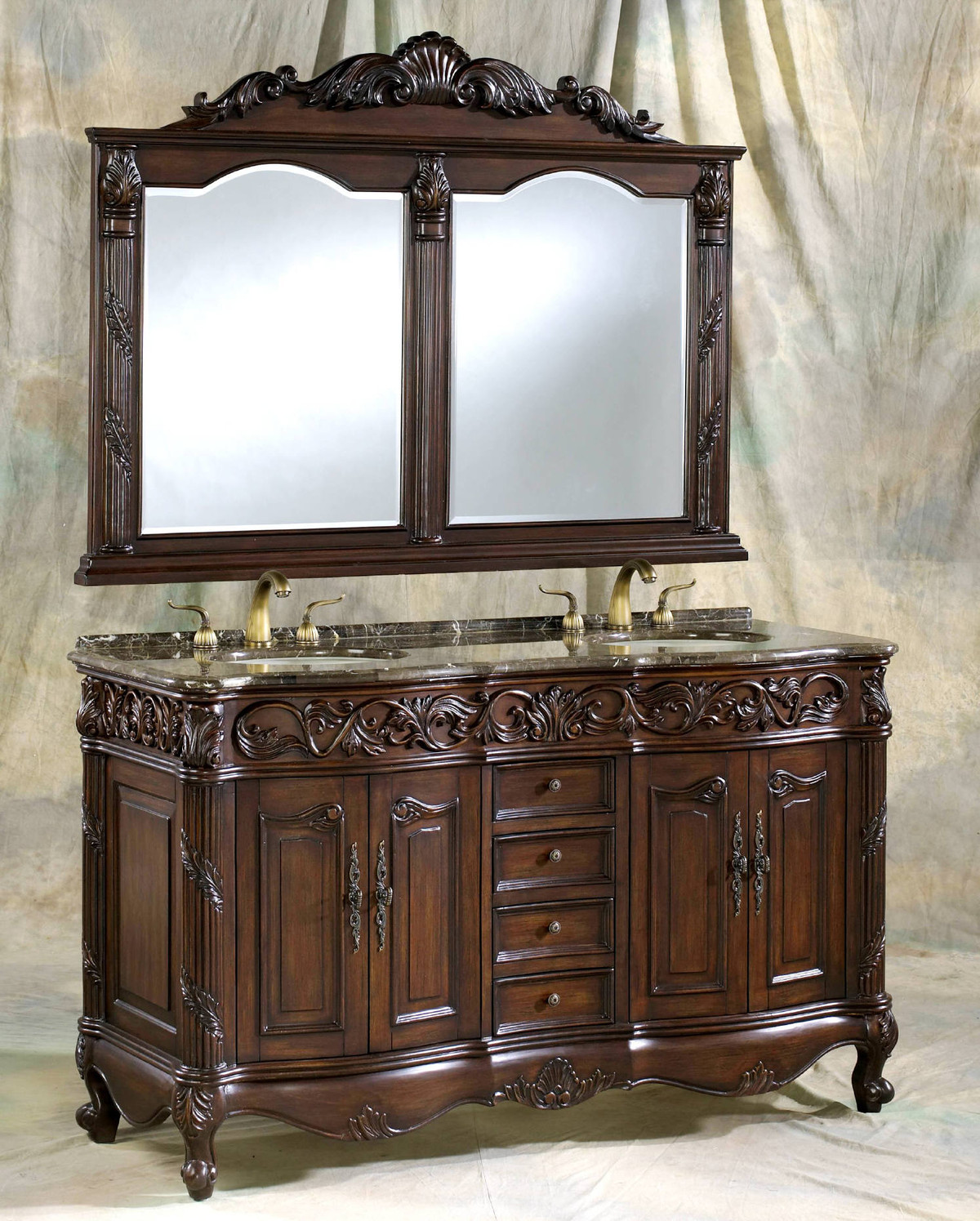 """60"""" Adelina Antique Style Double Sink Bathroom Vanity in Walnut Finish with Coral Brown Granite Countertop and Mirror Option"""