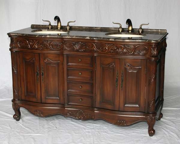 """60"""" Adelina Antique Style Double Sink Bathroom Vanity in Walnut Finish with Light Brown Stone Countertop and Oval Bone Porcelain Sinks"""