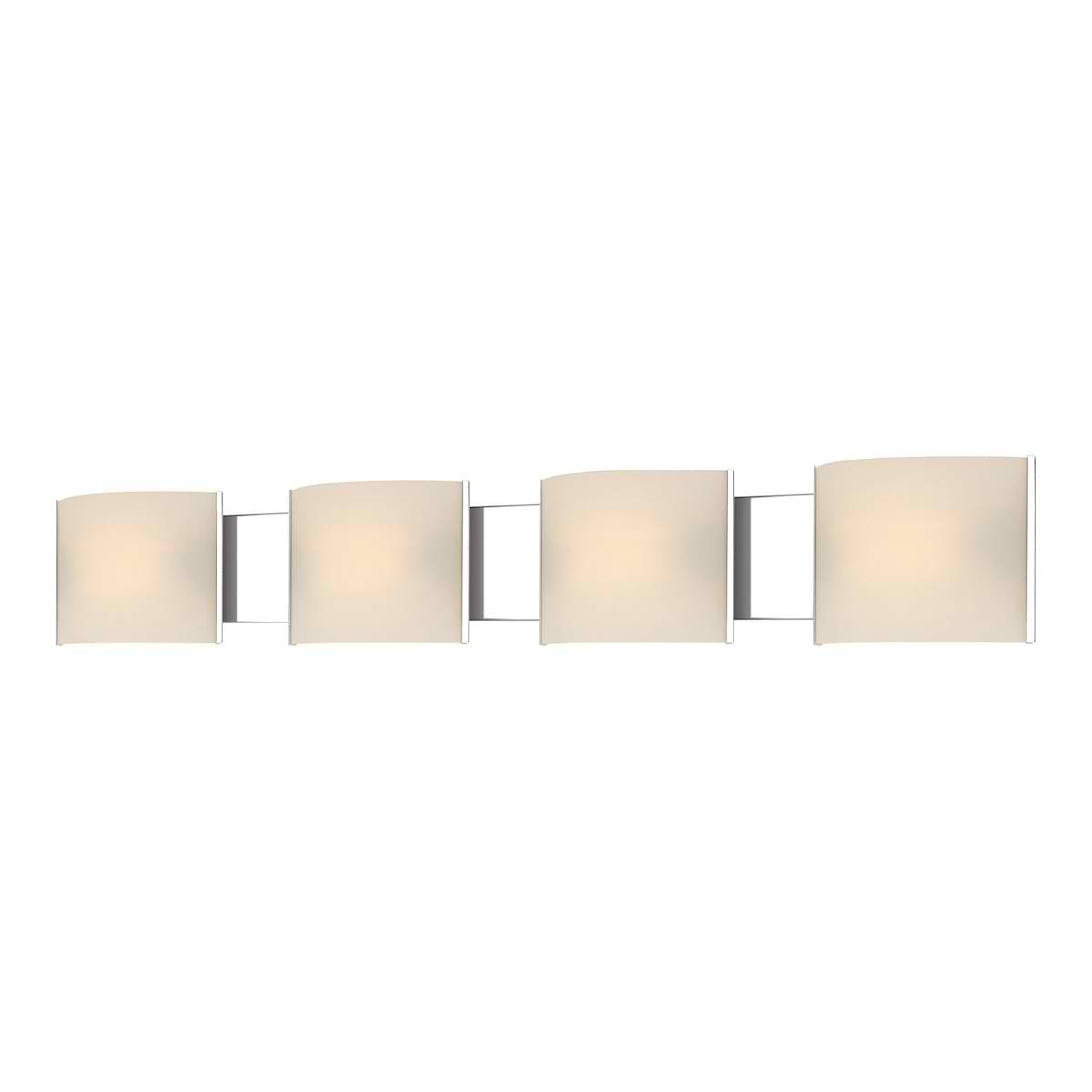 Pannelli Vanity - 4 Light with Lamps. White Opal Glass / Chrome Finish