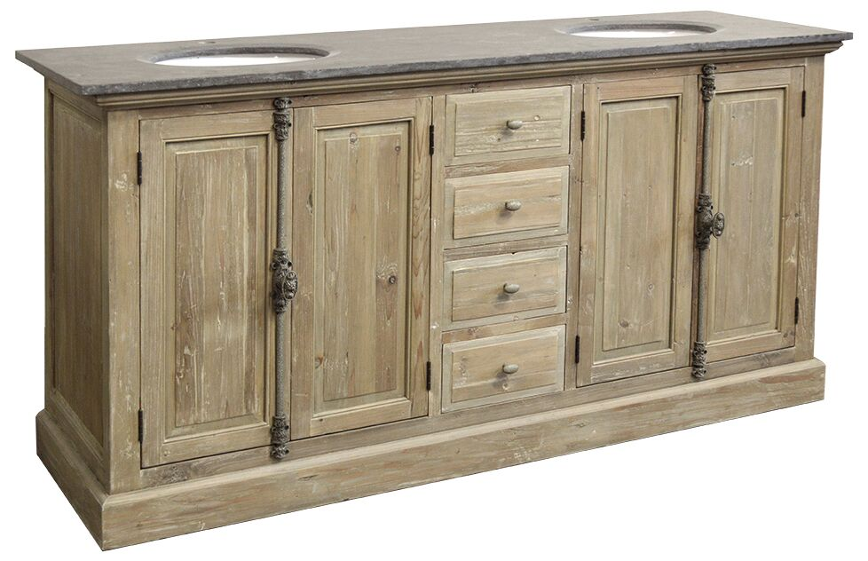 """71"""" Handcrafted Reclaimed Pine Solid Wood Double Bath Vanity Wash Finish"""