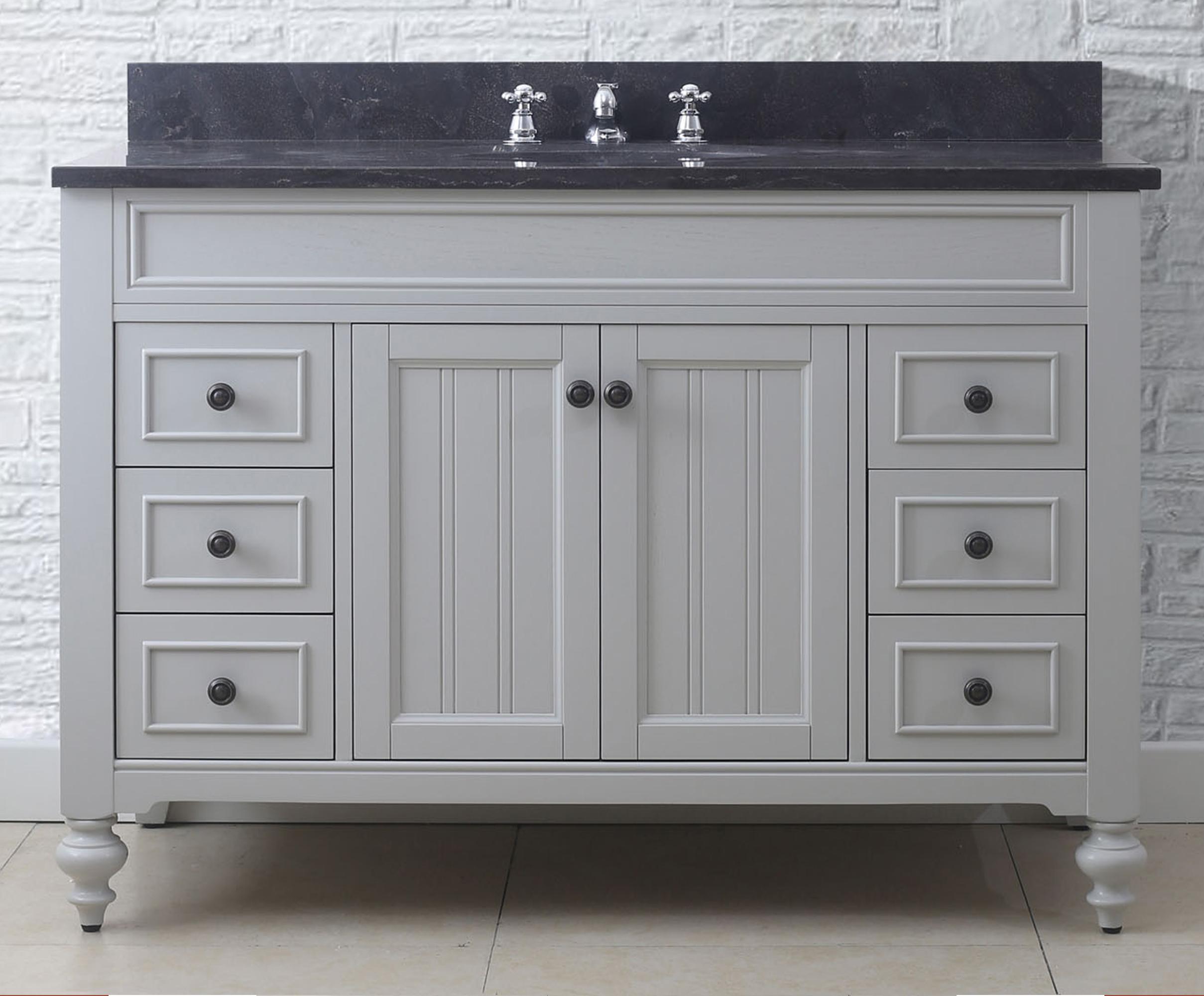 """48"""" Earl Grey Single Sink Bathroom Vanity with Blue Limestone Granite Top"""
