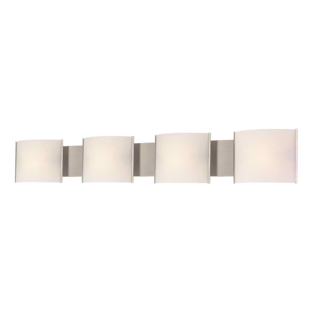 Pannelli Vanity - 4 Light with Lamps. White Opal Glass / SS Finish