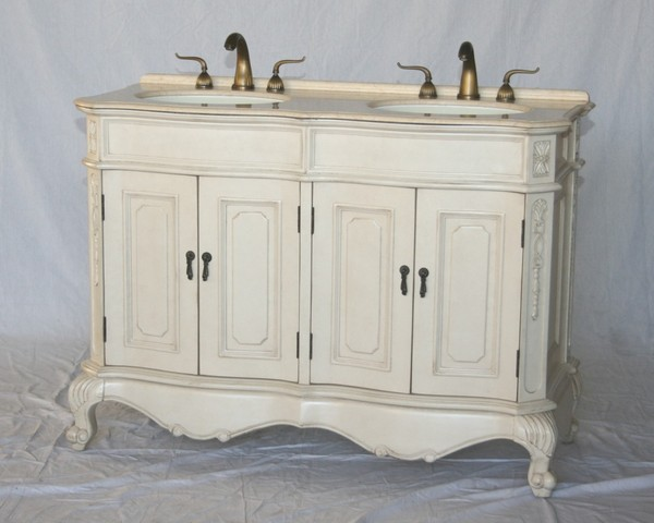 """50"""" Adelina Antique Style Double Sink Bathroom Vanity in Antique White Finish with Beige Stone Countertop"""