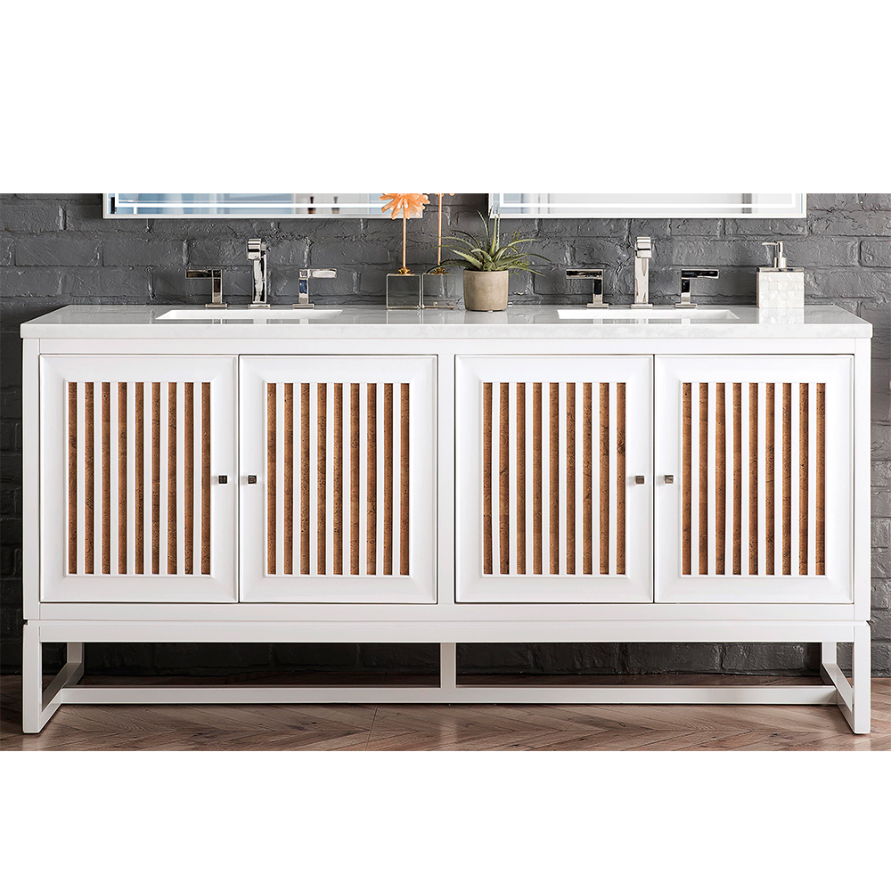 "James Martin Athens Collection 72"" Double Vanity Cabinet, Glossy White"