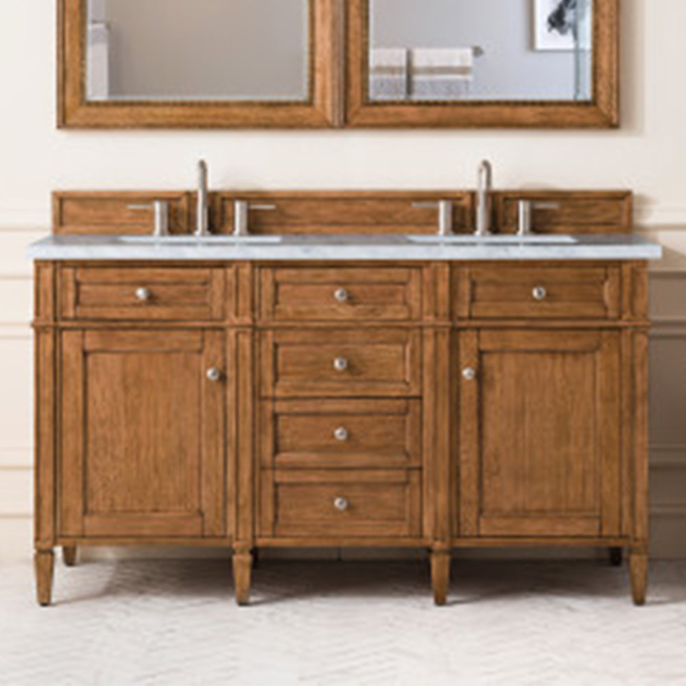 """James Martin Brittany Collection 60"""" Saddle Brown Double Vanity"""