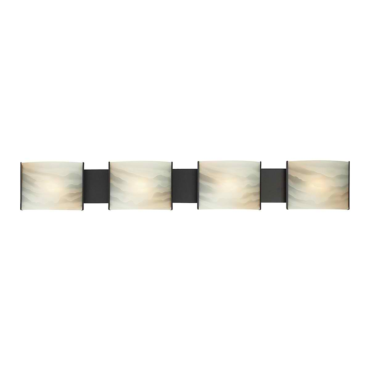 Pannelli Vanity - 4 Light with Lamps. Honey Alabaster Glass / ORB Finish