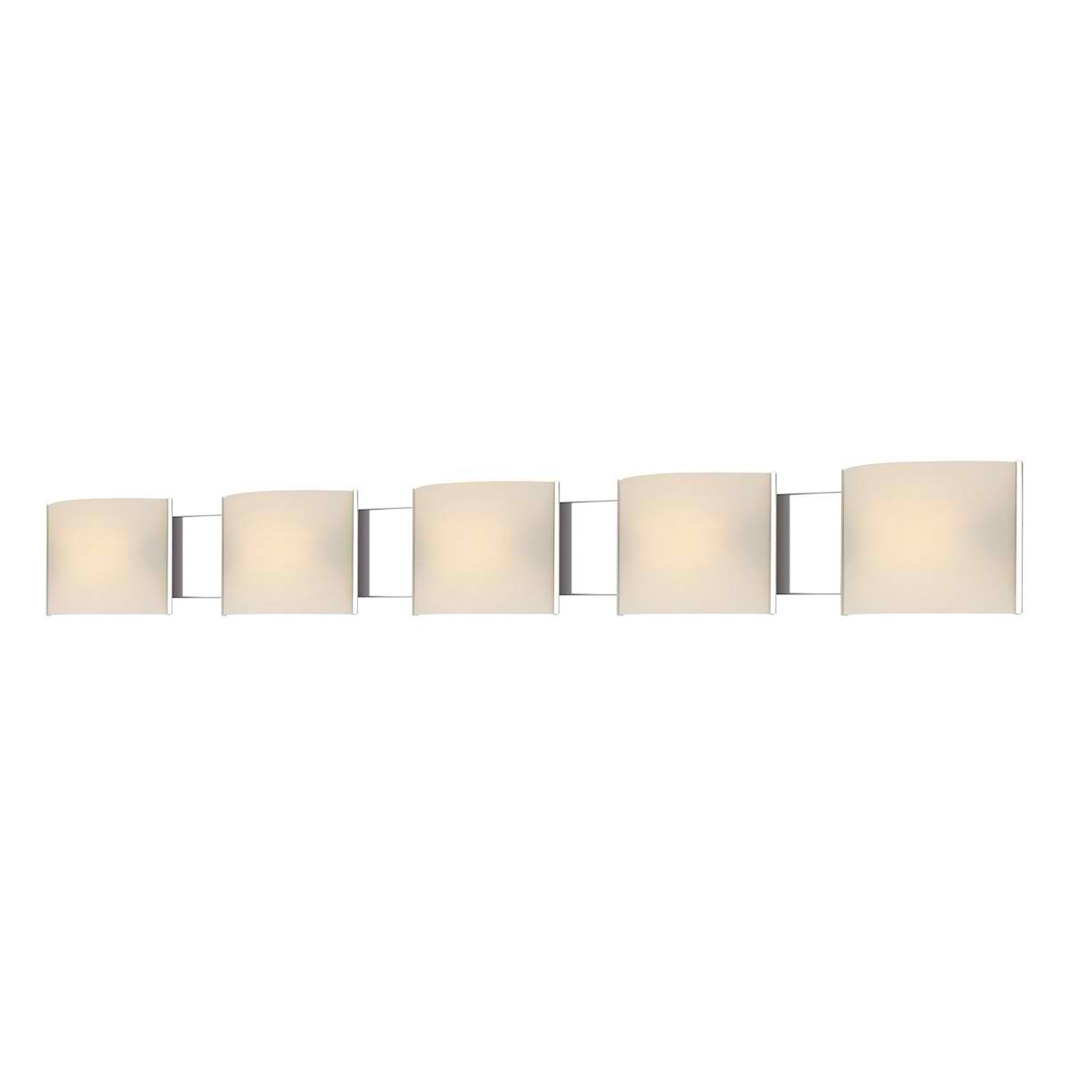 Pannelli Vanity - 5 Light with Lamps. White Opal Glass / Chrome Finish