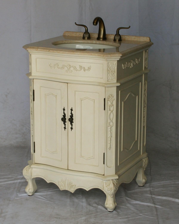 "24"" Adelina Antique Style Single Sink Bathroom Vanity in White Finish"
