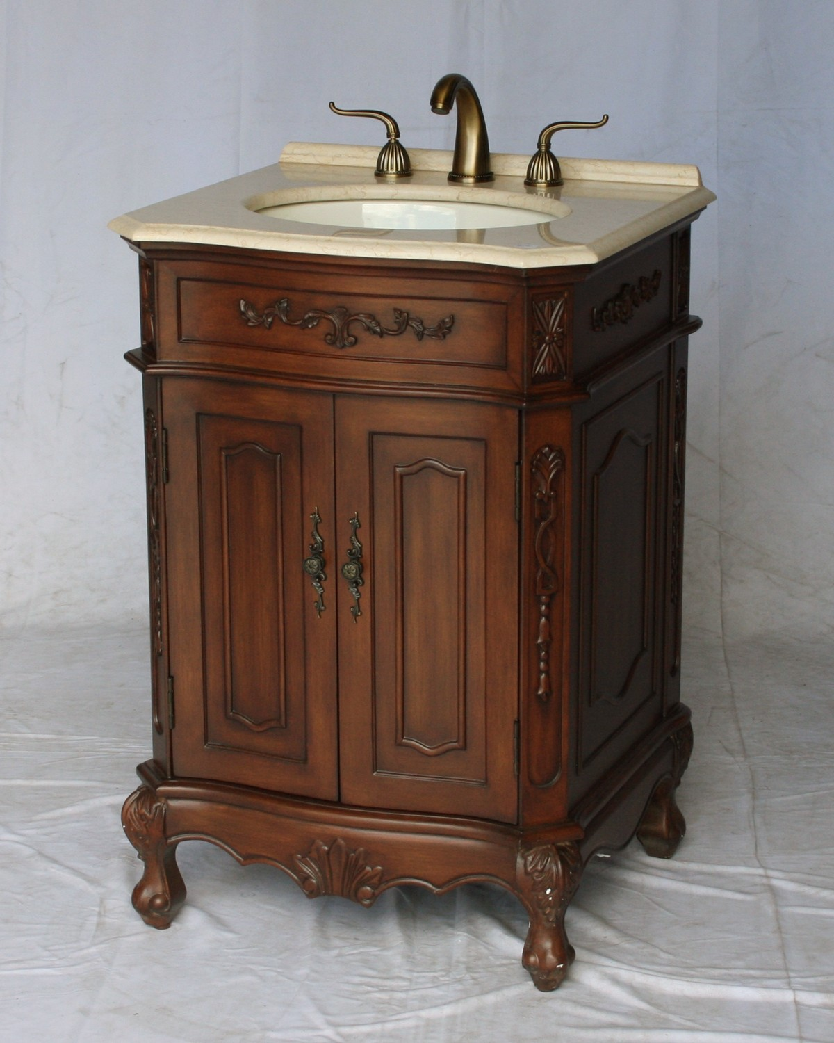 "24"" Adelina Antique Style Single Sink Bathroom Vanity in Walnut Finish"