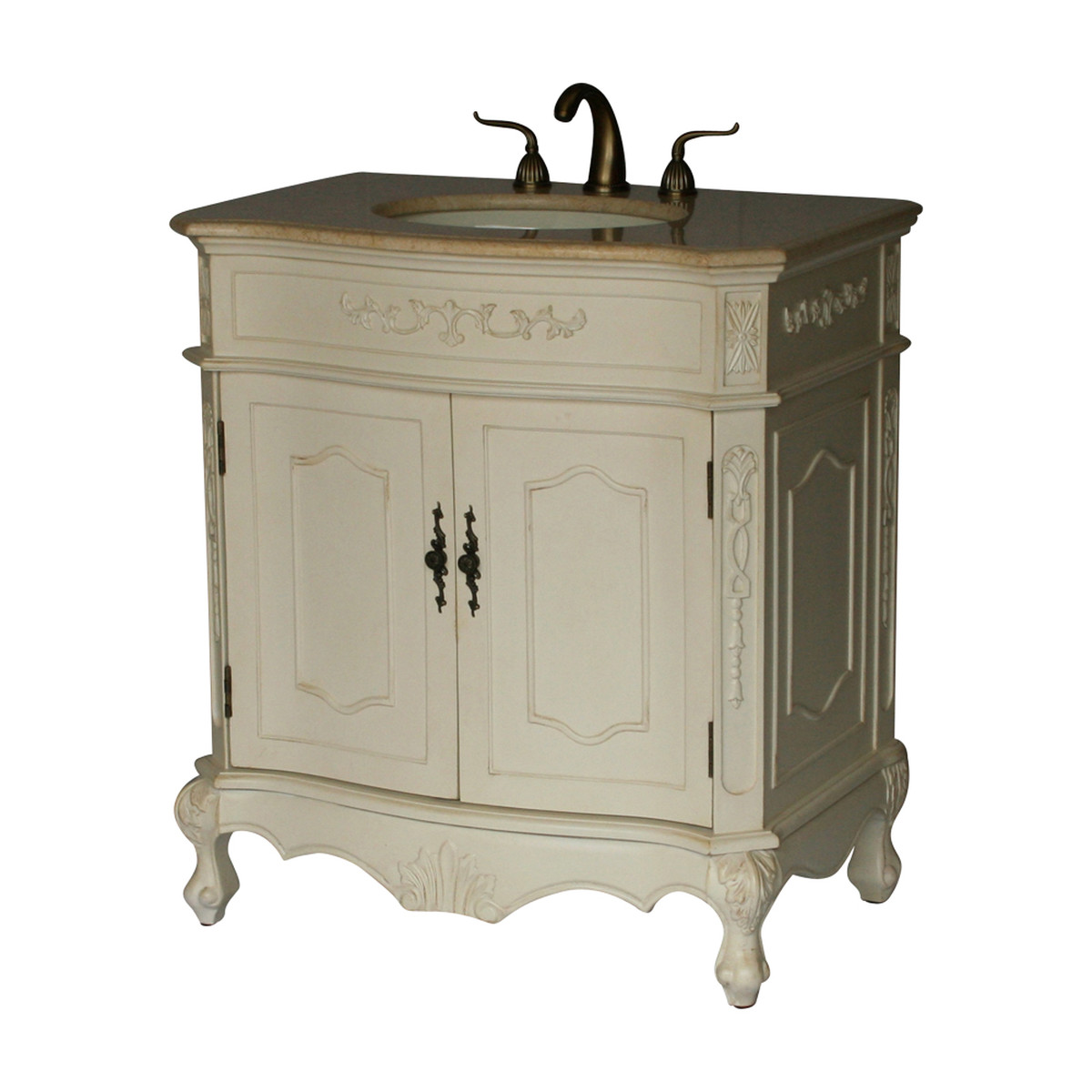 """32"""" Adelina Antique Style Single Sink Bathroom Vanity with Beige Stone Countertop and Antique White Finish"""