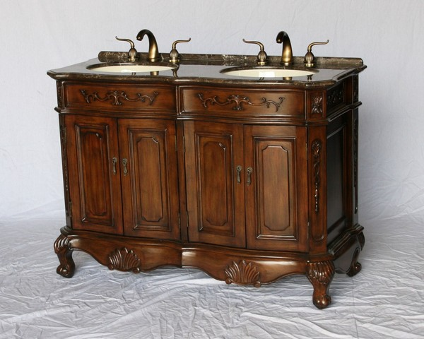 """50"""" Adelina Antique Style Double Sink Bathroom Vanity in Walnut Wooden Cabinet Finish with Light Brown Stone Countertop"""