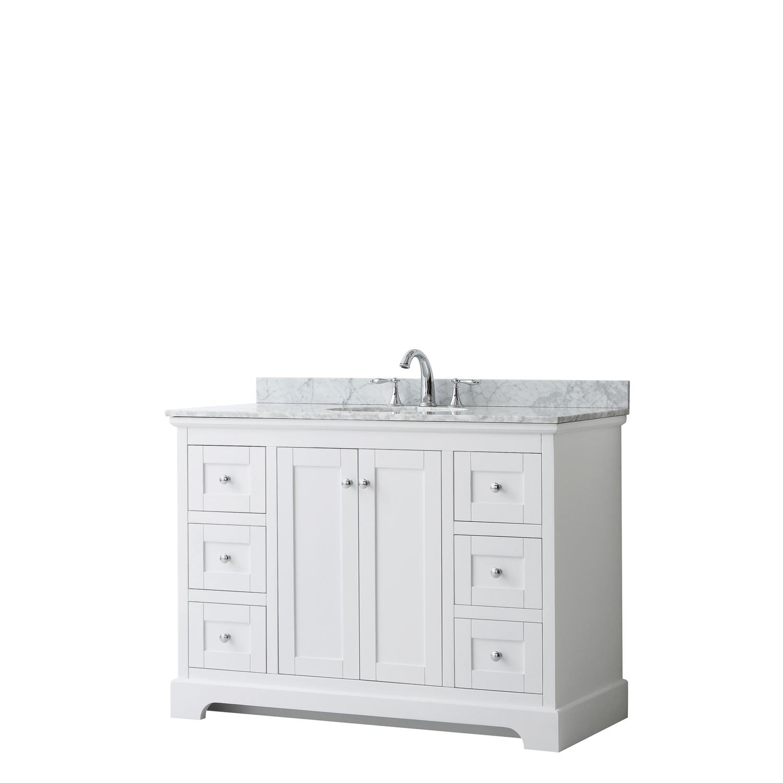 """48"""" Single Bathroom Vanity in White, No Countertop, No Sink, and No Mirror"""