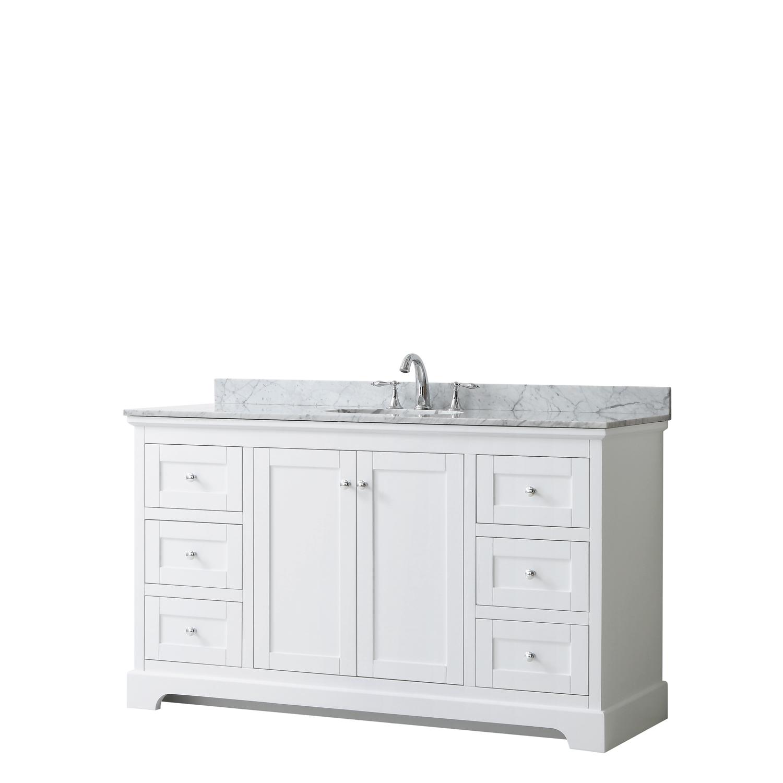 """60"""" Single Bathroom Vanity in White, No Countertop, No Sink, and No Mirror"""