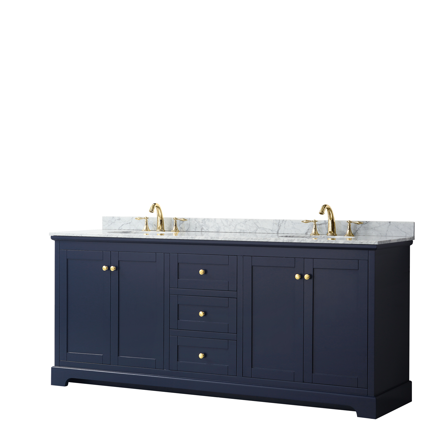 "80"" Double Bathroom Vanity in Dark Blue, No Countertop, No Sinks, and No Mirror"