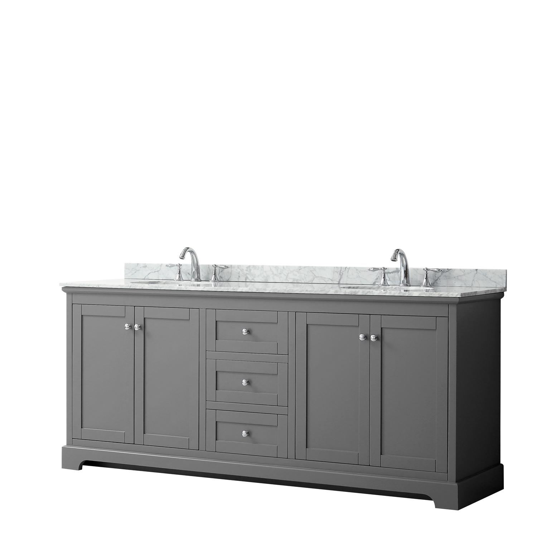 """80"""" Double Bathroom Vanity in Dark Gray, No Countertop, No Sinks, and No Mirror"""
