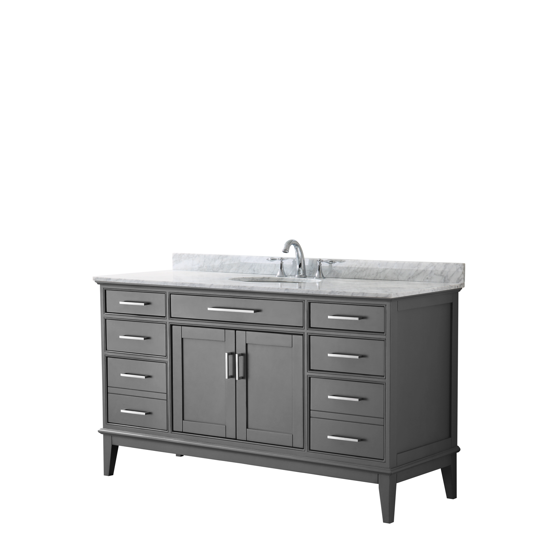 "Contemporary 60"" Single Bathroom Vanity in Dark Gray, White Carrara Marble Countertop with Undermount Sink, and Mirror"