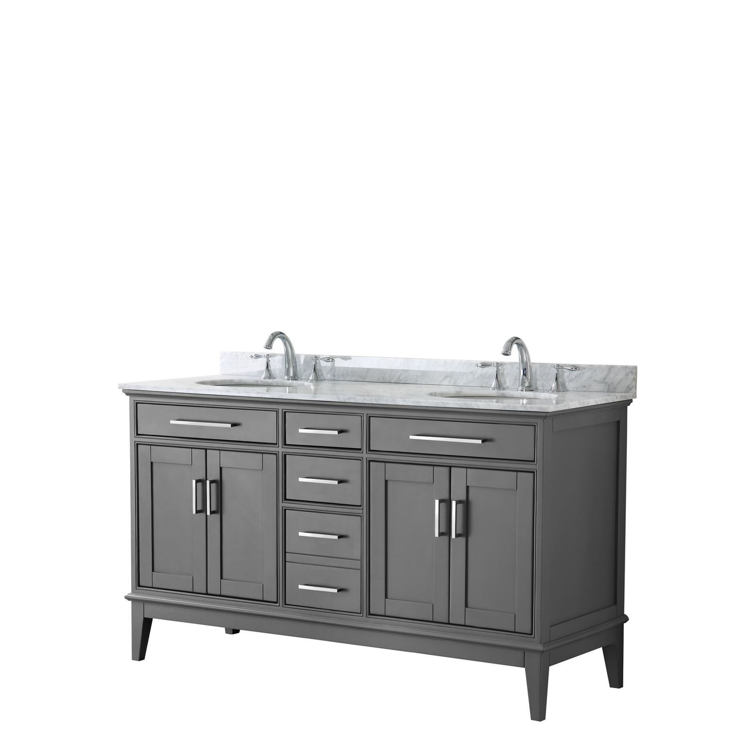"""Contemporary 60"""" Double Bathroom Vanity in Dark Gray, White Carrara Marble Countertop with Undermount Sinks, and Mirror Options"""