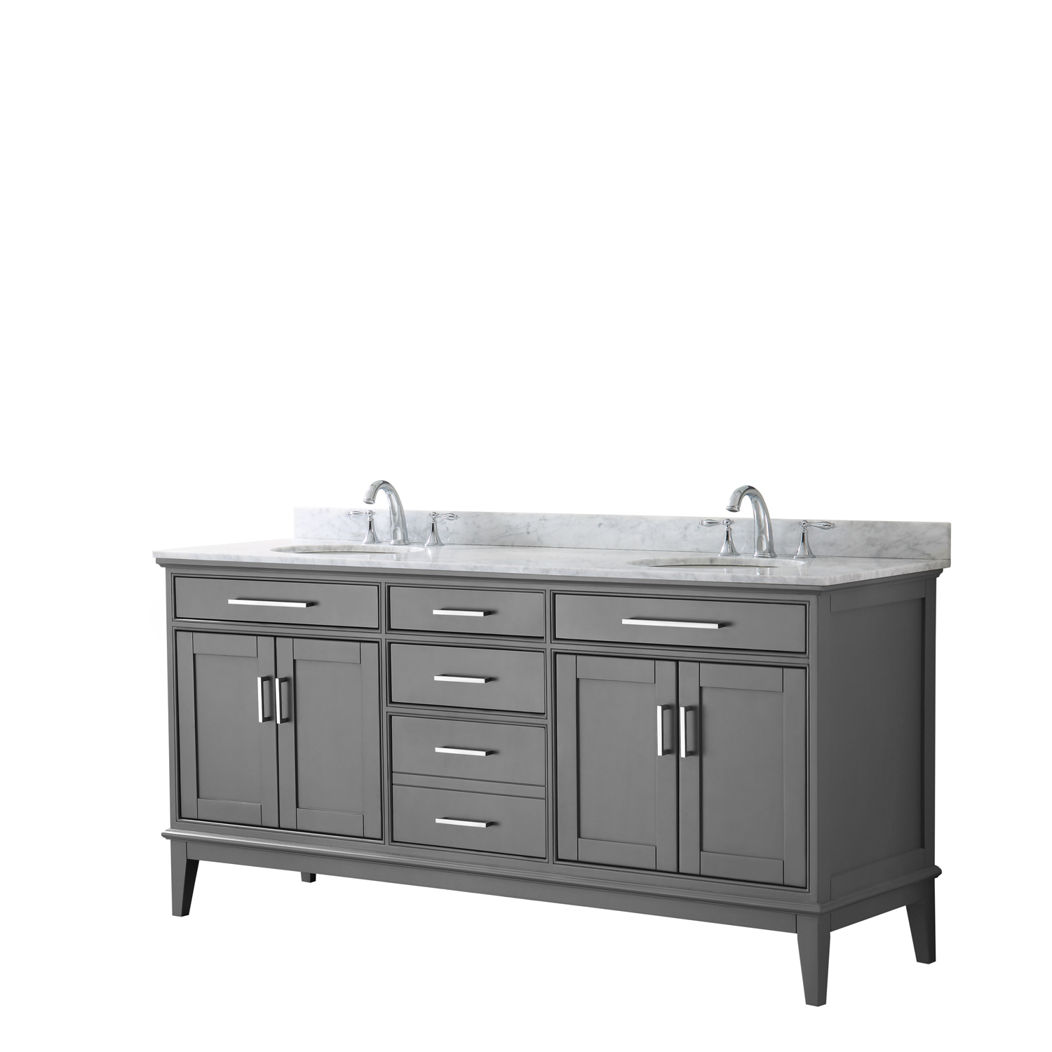 """Contemporary 72"""" Double Bathroom Vanity in Dark Gray, White Carrara Marble Countertop with Undermount Sinks, and Mirror Options"""