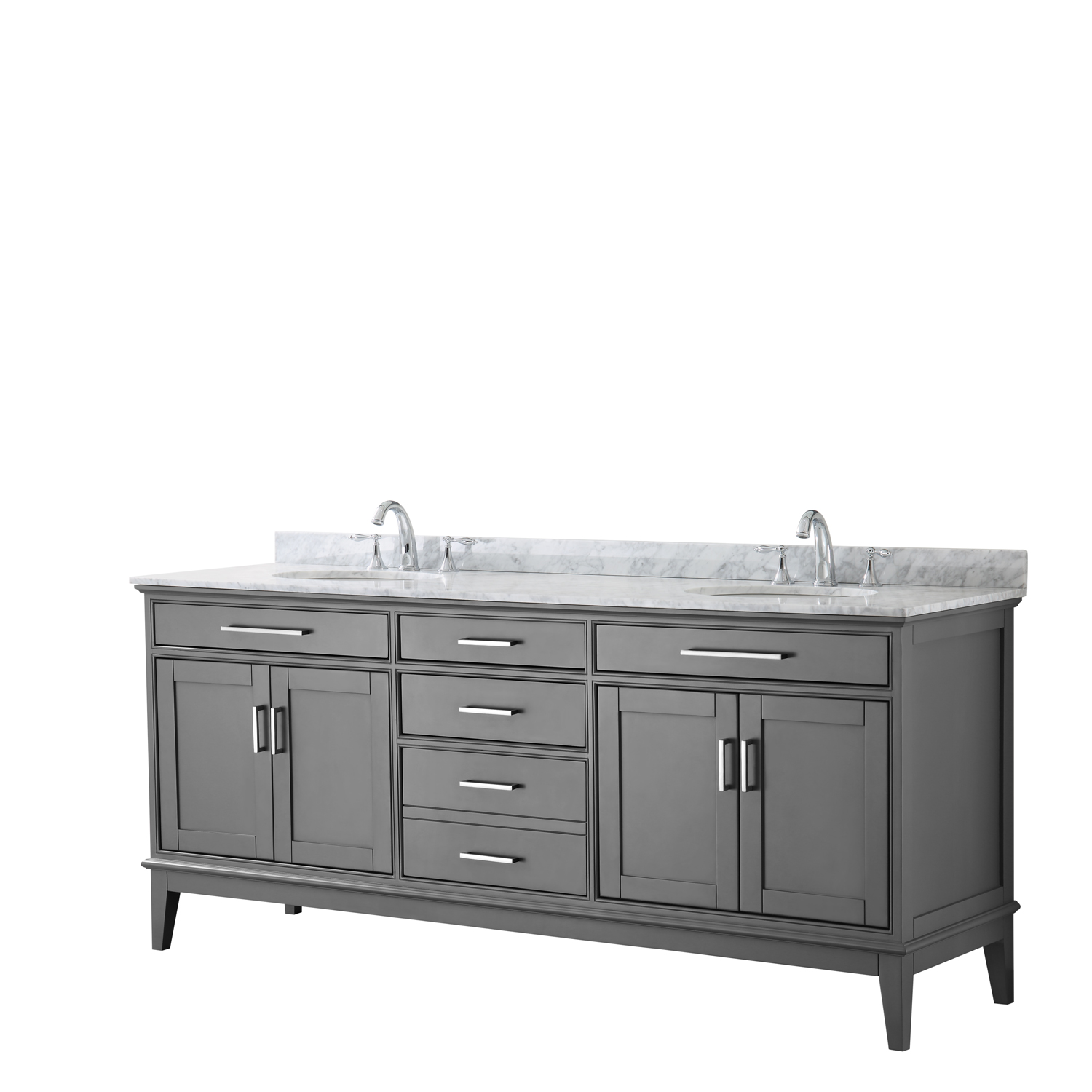 """Contemporary 80"""" Double Bathroom Vanity in Dark Gray, White Carrara Marble Countertop with Undermount Sinks, and Mirror Options"""