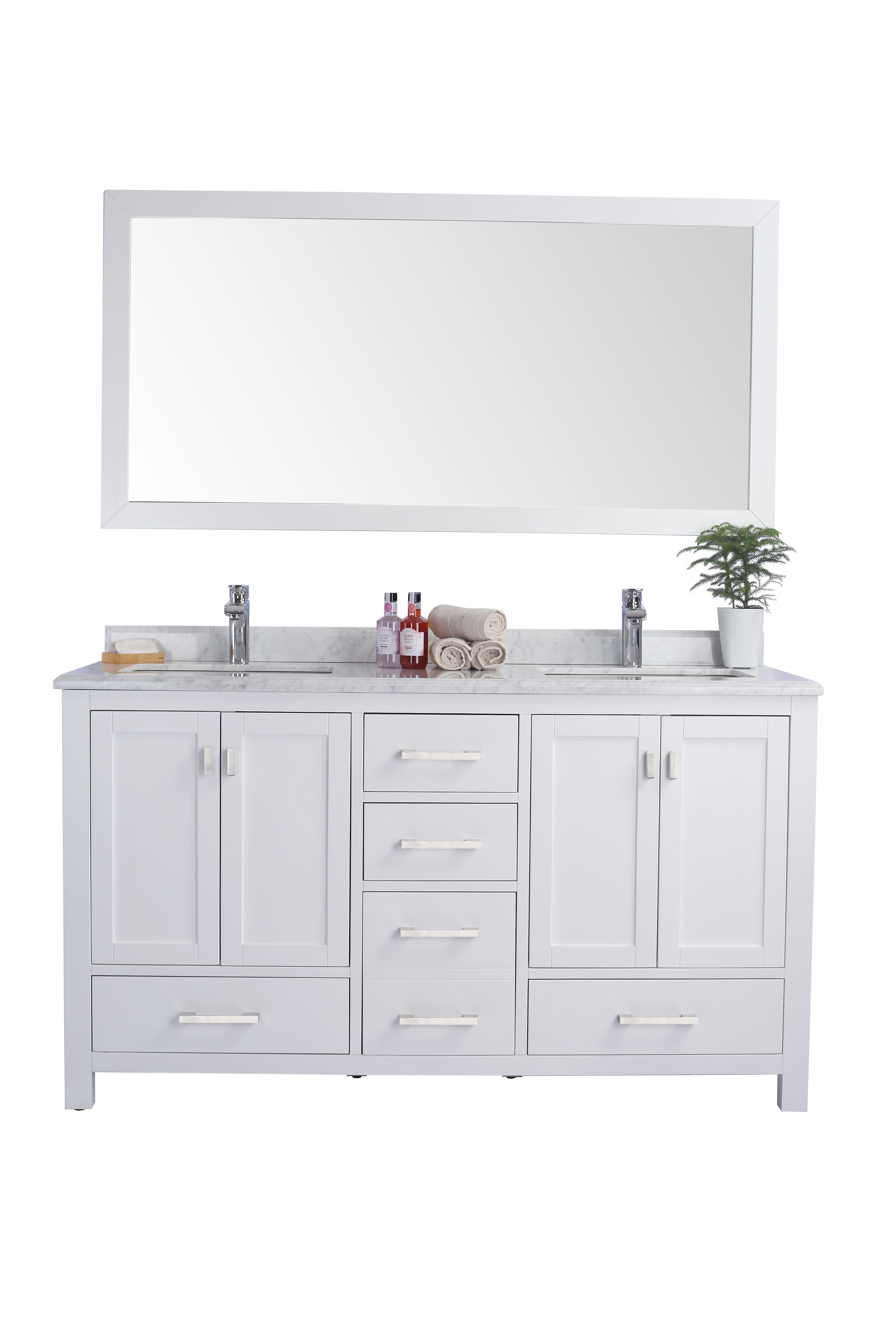 """60"""" Double Sink White Bathroom Vanity Cabinet + Top and Color Options"""