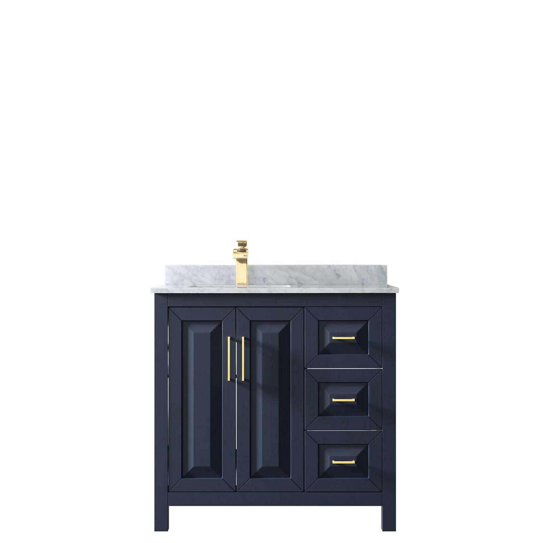 "36"" Single Bathroom Vanity in Dark Blue with Countertop, Mirror and Medicine Cabinet Options"