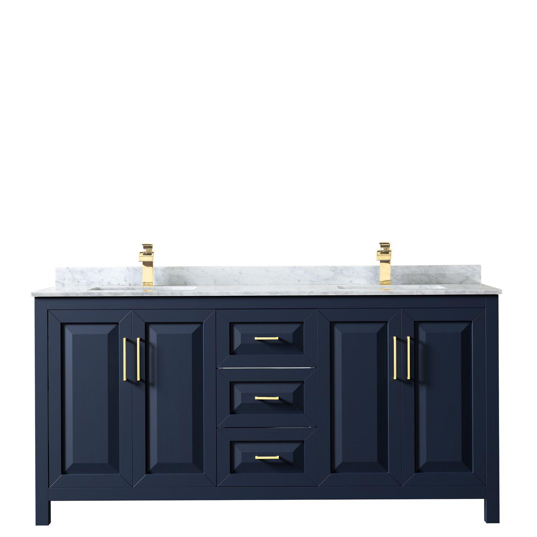 "72"" Double Bathroom Vanity in Dark Blue with Countertop, Mirror and Medicine Cabinet Options"