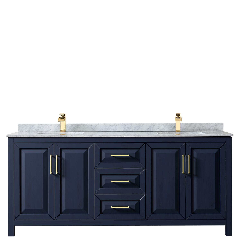 "80"" Double Bathroom Vanity in Dark Blue with Countertop, Mirror and Medicine Cabinet Options"