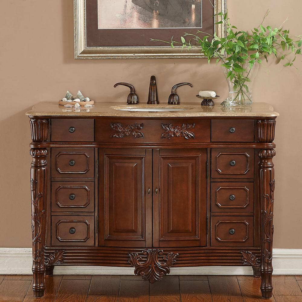 """48"""" Single Sink Vanity in Brazilian Rosewood with Stone Vanity Top in Travertine with White Basin"""