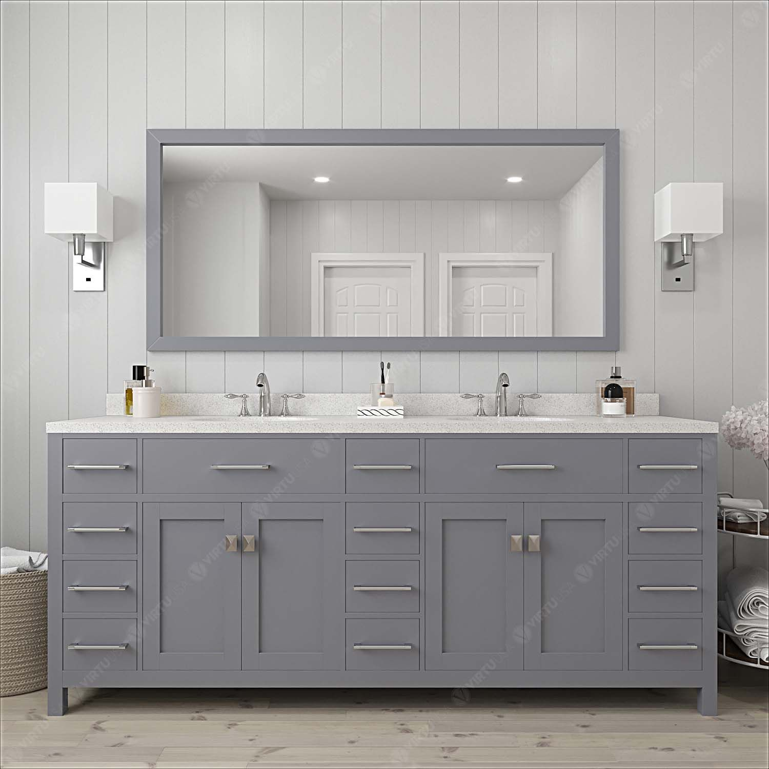 """78"""" Double Bath Vanity in Grey with Dazzle White Quartz Top and Square Sink with Mirror"""
